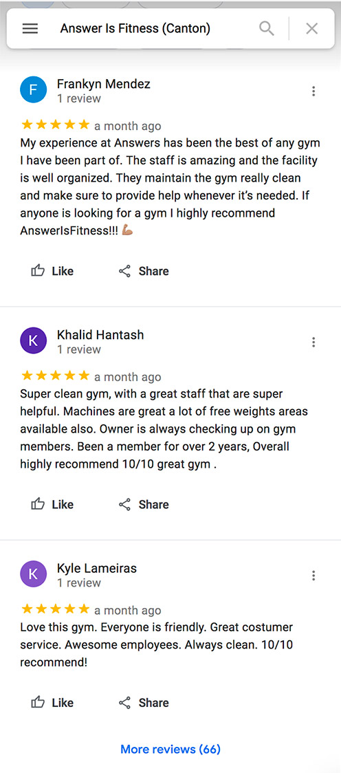 Answer is Fitness Reviews - Canton, MA
