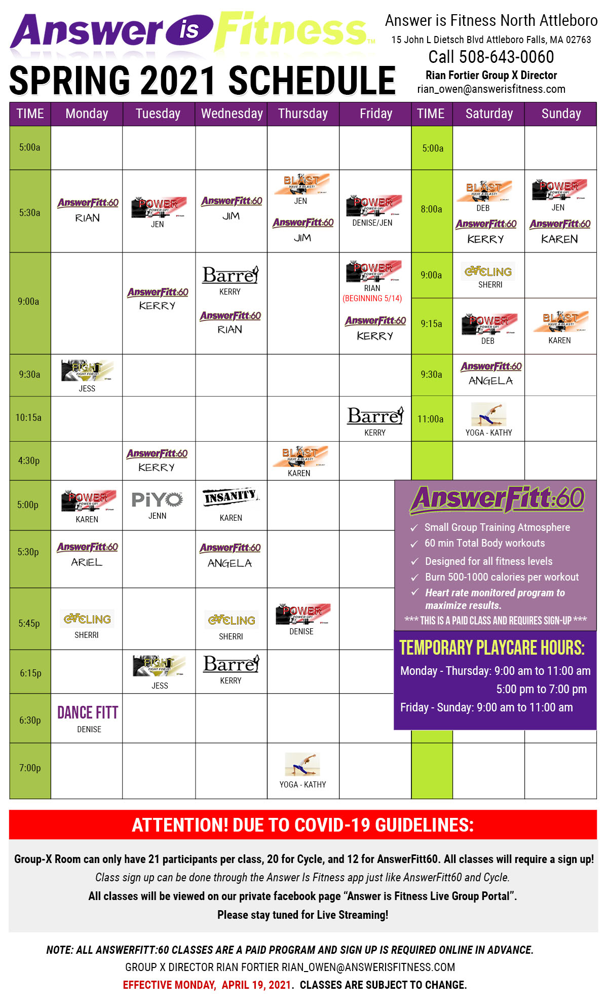North Attleboro - Group Fitness, Group Exercise Schedule - MA