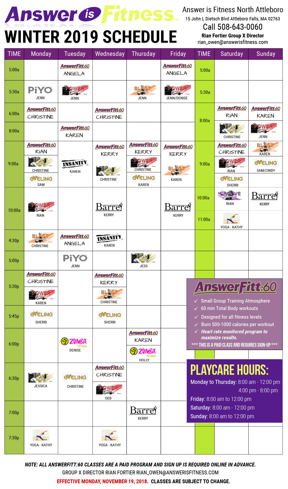 Aerobics North Attleboro - Group Fitness, Group Exercise Schedule - MA