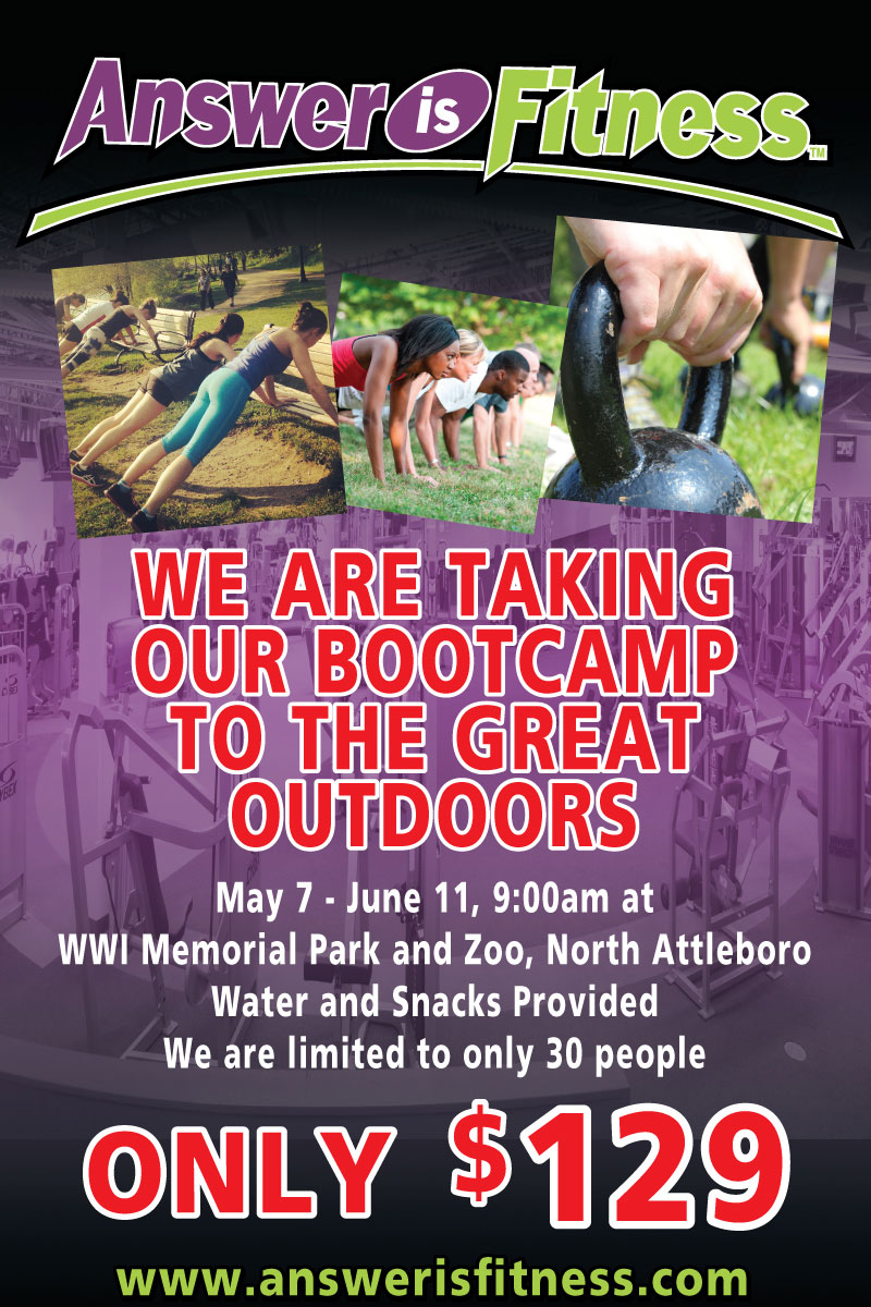 Answer is Fitness is Taking Bootcamp to the Great Outdoors, May 7th to June 9th!