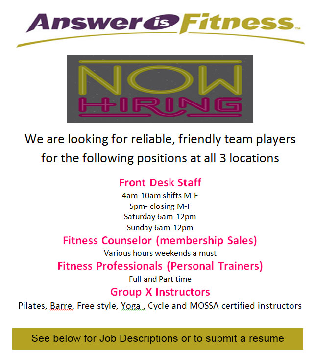 Employment Opportunities - Answer is Fitness