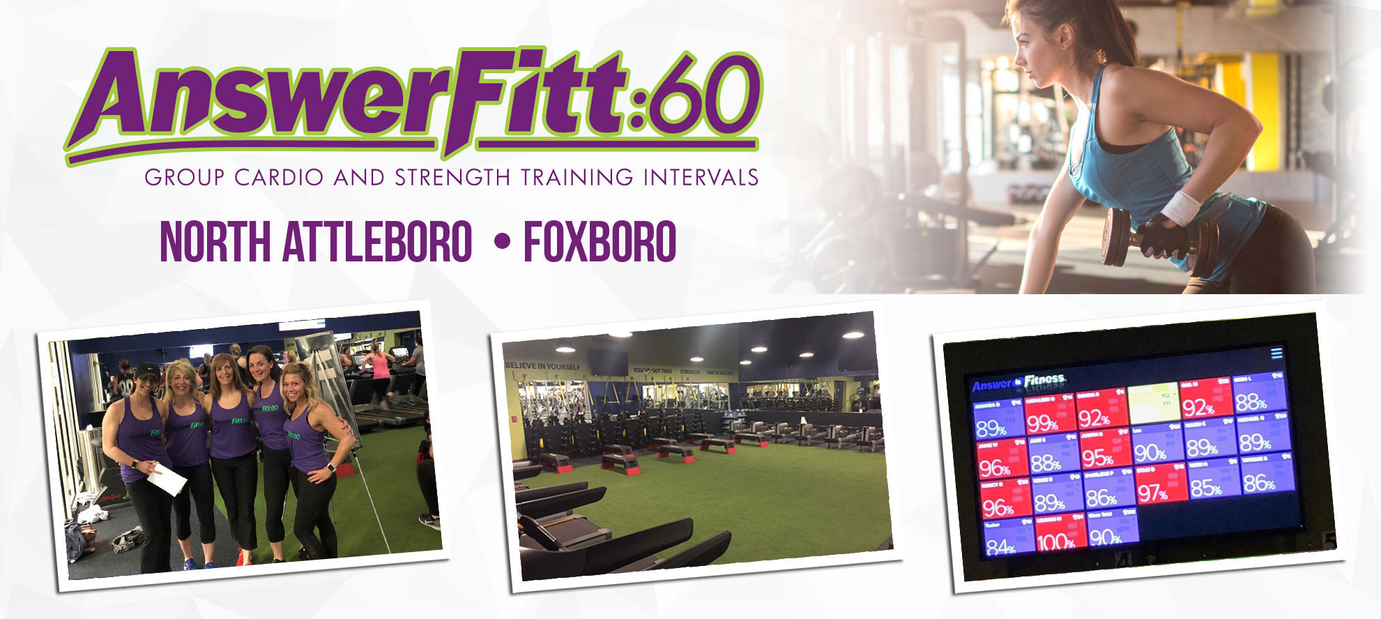Answer is Fitness, Answerfitt:60, North Attleboro, MA