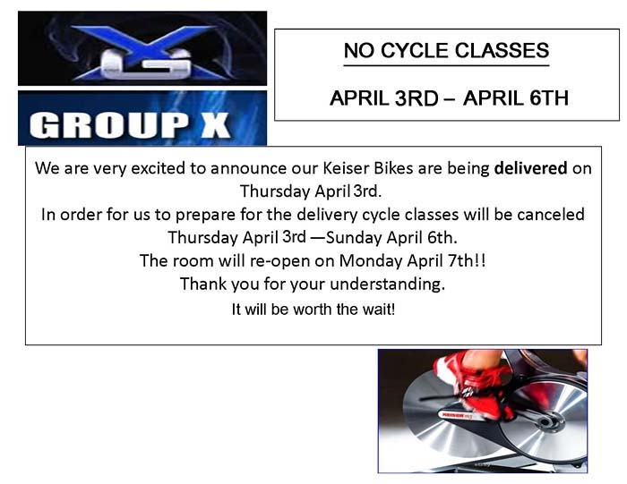 No Cycle Classes on April 4th to April 6th